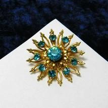 Vintage Coro Brooch Round Floral Aqua Blue Rhinestones Pin 1950's Costum... - $37.40