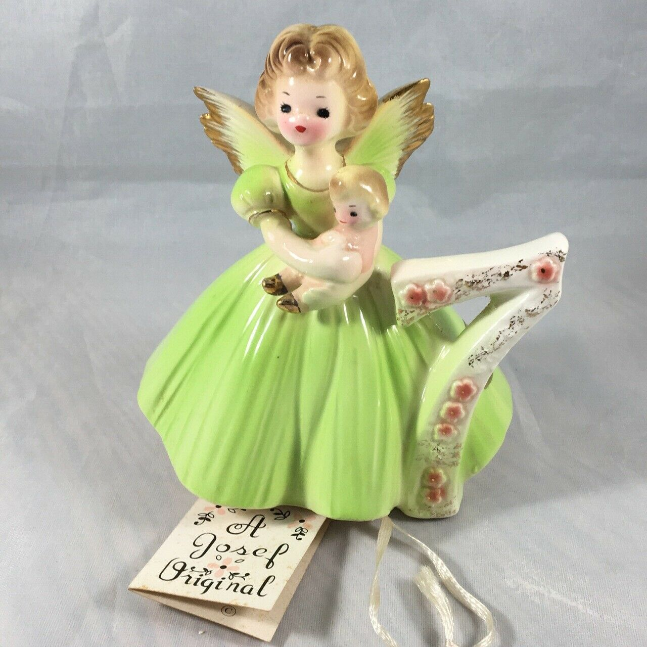 """EXCELLENT USED """"A JOSEF ORIGINAL"""" LIGHT GREEN BIRTHDAY ANGEL WITH THE # 7 W/TAG - $9.79"""