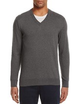 New $118 Bloomingdales Medium Heather Gray 100% Cotton V-NECK Sweater Size S - $14.84