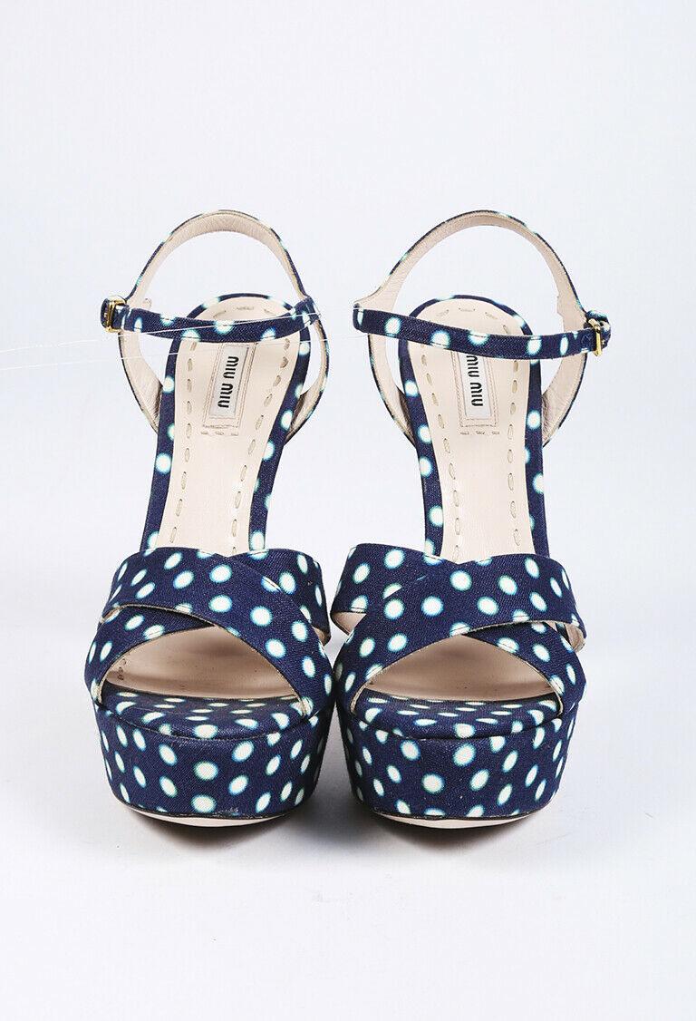 Miu Miu Polka Dot Platform Sandals SZ 40.5