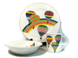 3 Piece Set Mikasa Up Up & Away Plate Bowl Mug Aviator Child Place Setting  - $22.48