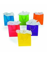 12pk SMALL Colorful Gift Bags Assorted Colors 9 inch Neon Party Goody Ba... - $7.69