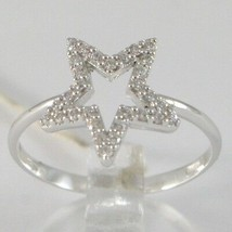 White Gold Ring 750 18k, Star with zirconia, Made in Italy image 1