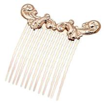 2 Pcs Golden Sea Wave Vintage Side Comb Chinese Style Hanfu Metal Hair Clip 13 T