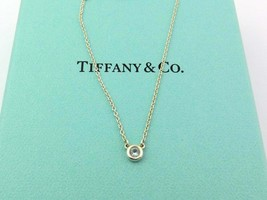 Authentic TIFFANY & CO Silver Aquamarine Color by the Yard Pendant Necklace - $154.89