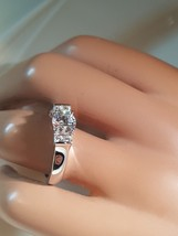 Brilliant Sterling Silver CZ Engagement Rings Size 9 - £11.51 GBP