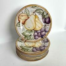 """7 Piece American Atelier 8.25"""" Salad Plates Porcelain POMPEII FRUIT 5019 - $69.29"""