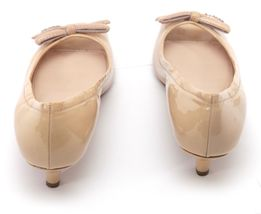 PRADA SPORT Patent Leather Nude Bow Peep Toe Pump Silver Kitten Heel Sz 37 image 8