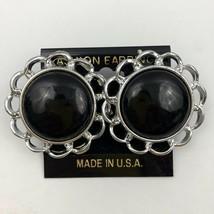Vintage Big Round Flower Shaped Plastic Pierced Earrings Black Silver To... - $11.10