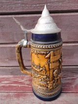 Vintage Gerz West Germany Lidded  Stoneware Stein Man and Woman High Rel... - $24.75