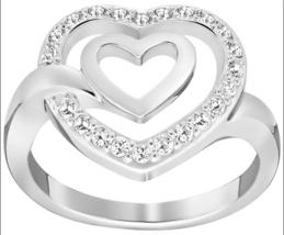 NWT Swarovski Crystal LADY Heart Silver Ring Size 55/7/M - $68.31