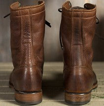 Handmade Men Brown Leather High Ankle Military Boot image 3