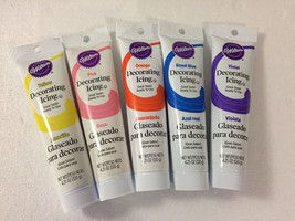 5 Wilton Cake Decorating Icing Tubes PURPLE ORANGE YELLOW PINK BLUE - $24.75