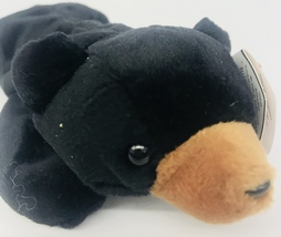 "Ty Blackie Black Bear Beanie Babies 8"" Date Of Birth July 15 1994 Lying Down Tag - $13.99"