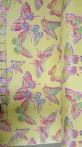 Fabric Traditions Flannel Glitter Butterfly Yellow Cotton fabric by the ... - $7.92