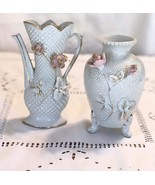 Vintage iridescent vases Japan numbered copy Two White vintage vases wit... - $25.00