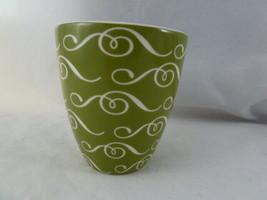 Starbucks Handleless Coffee Mug Cup 2010 New Bone China Green & White No handle - $6.33