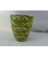 Starbucks Handleless Coffee Mug Cup 2010 New Bone China Green & White No... - $6.33