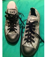 CONVERSE ALL STAR 8M WOMEN'S BLACK WHITE FLOWER PRINT LOW TOP SNEAKERS S... - $21.87