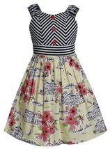Bonnie Jean Little Girl 4-6X  Coral Yellow Conversational Print Cotton Dress