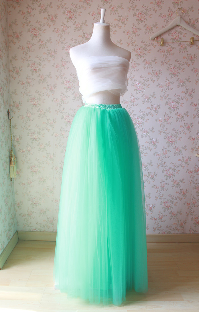Primary image for Mint Green Long Tulle Skirt High Waisted 4-Layered Puffy Tutu Skirt Outfit