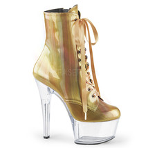 "PLEASER 6"" Heel Stripper Pole Dance Platform Gold Hologram Women Ankle B... - $64.95"