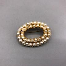 Vintage Brooch Pin Gold Tone Faux Pearl - $23.75