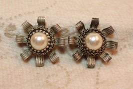 Vintage Babylone Paris French Runway Couture Designer Faux Pearl Floral Earrings - $118.78