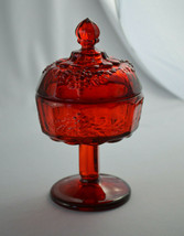 Fenton/LG Wright/Westmoreland Paneled Grape Ruby Red Covered Candy Compote - $29.70