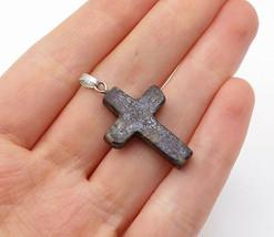 925 Sterling Silver - Vintage Petite Jasper Religious Cross Pendant - P11432 - £19.11 GBP