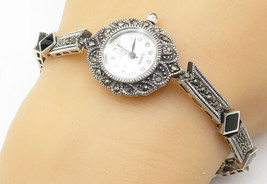 925 Sterling Silver - Vintage Black Onyx & Marcasite Floral Detail Watch... - $65.92
