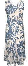 RJC Women's Beachside Breeze Tea Length Sleeveless Hawaiian Dress Blue Q... - $93.36