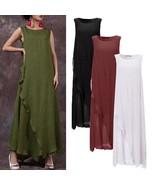 Zanzea Summer Women Sleeveless Retro Loose Casual Kaftan Long Maxi Dress... - $37.50
