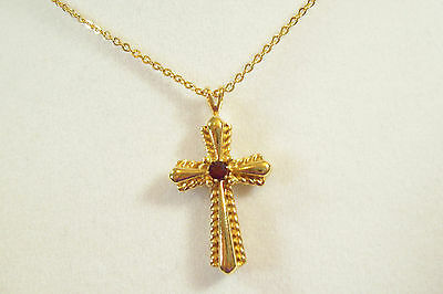 Primary image for AVON Gold Plate Cross Ruby Red Rhinestone Chain Necklace Pendant Religious Vintg