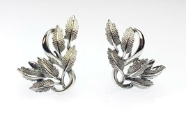 Vintage Signed CORO Silver-tone Leaves Elegant Clip on Earrings - $26.99