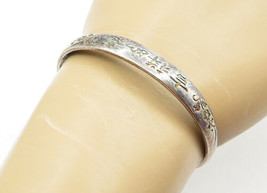 925 Sterling Silver - Vintage Petite Floral Patterned Bangle Bracelet - ... - $35.60