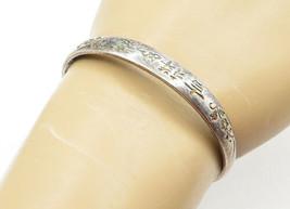 925 Sterling Silver - Vintage Petite Floral Patterned Bangle Bracelet - ... - $35.60