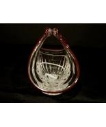 Bohemian Hand Blown Art Glass Basket w/ Ruby Red Trim & Dots Czechoslovakia - $20.99