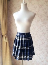 Navy Blue Plaid Skirt Women Pleated Plaid Skirt Navy School Style Plaid Skirts