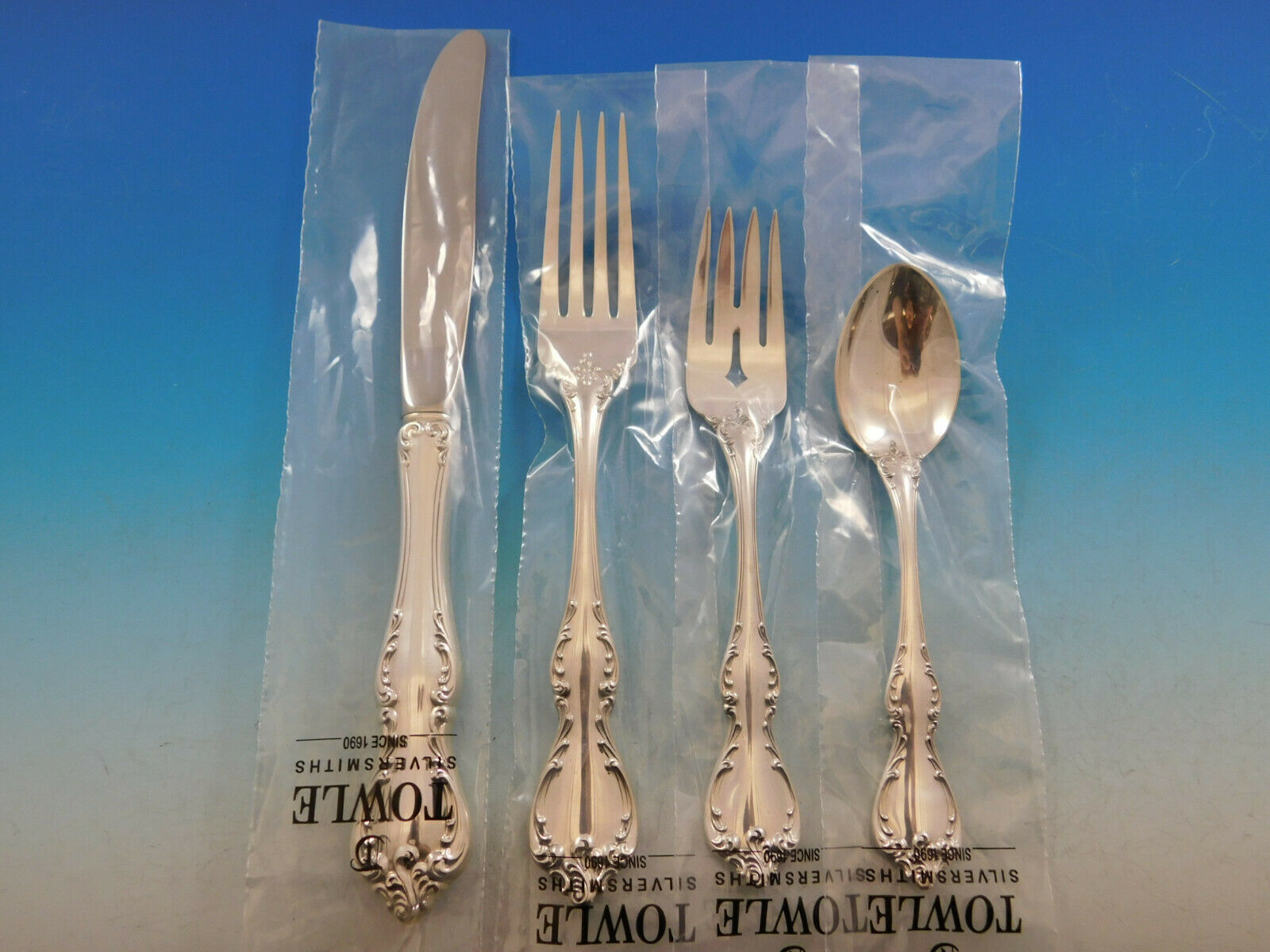 Primary image for Debussy by Towle Sterling Silver Flatware Set for 12 Service 53 pcs Dinner New