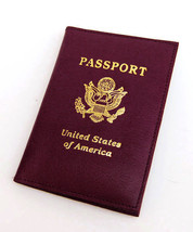 Red USA Passport Cover Leather Wallet ID Credit Card Holder - €7,89 EUR