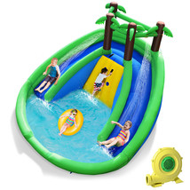 Inflatable Water Park Pool Bounce House Dual Slide Climbing Wall w/ 750W Blower - $629.00