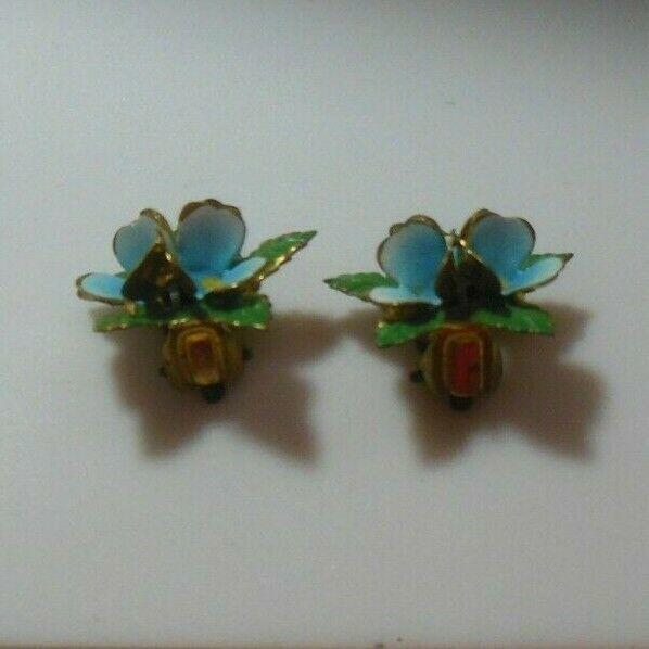 Signed Austria Gold-tone Blue & Green Enamel Flower Earrings