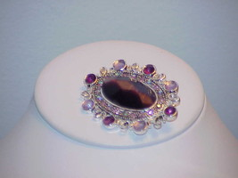 Vintage Monet Purple Pink Lavender Catseye Statement Brooch Pin RS Silve... - $29.69
