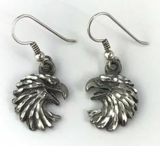 Eagle Head Earrings Pierced Hook Signed EJC VTG 1995 Bikers Livery Bird - $19.80