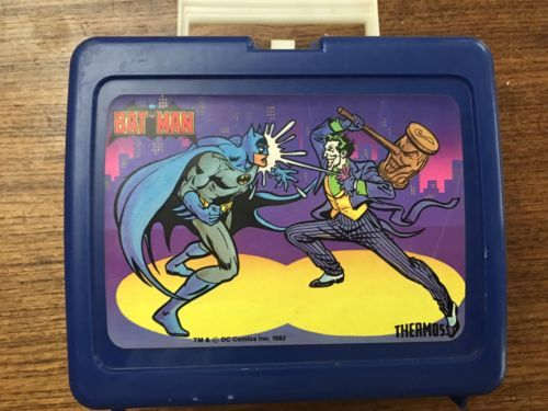 Primary image for Vintage Batman Joker Lunch Box Plastic DC Comics 1982 No Thermos Blue Classic