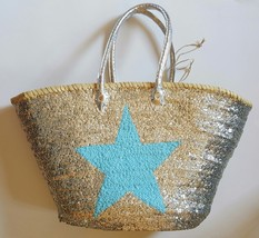 Sale Basket sequined with light blue star