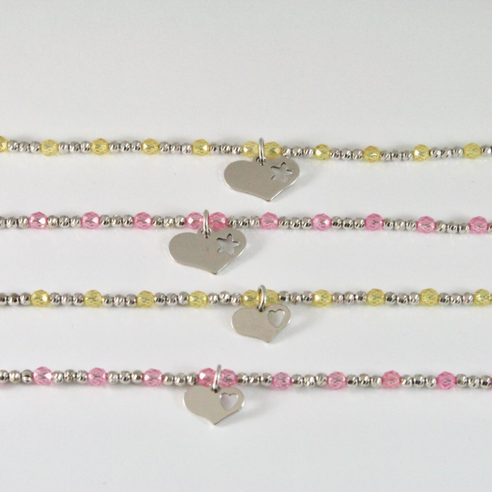 Silber Armband 925 Rhodium mit Zirkonia Kubische Kugeln und Anhänger A Herz