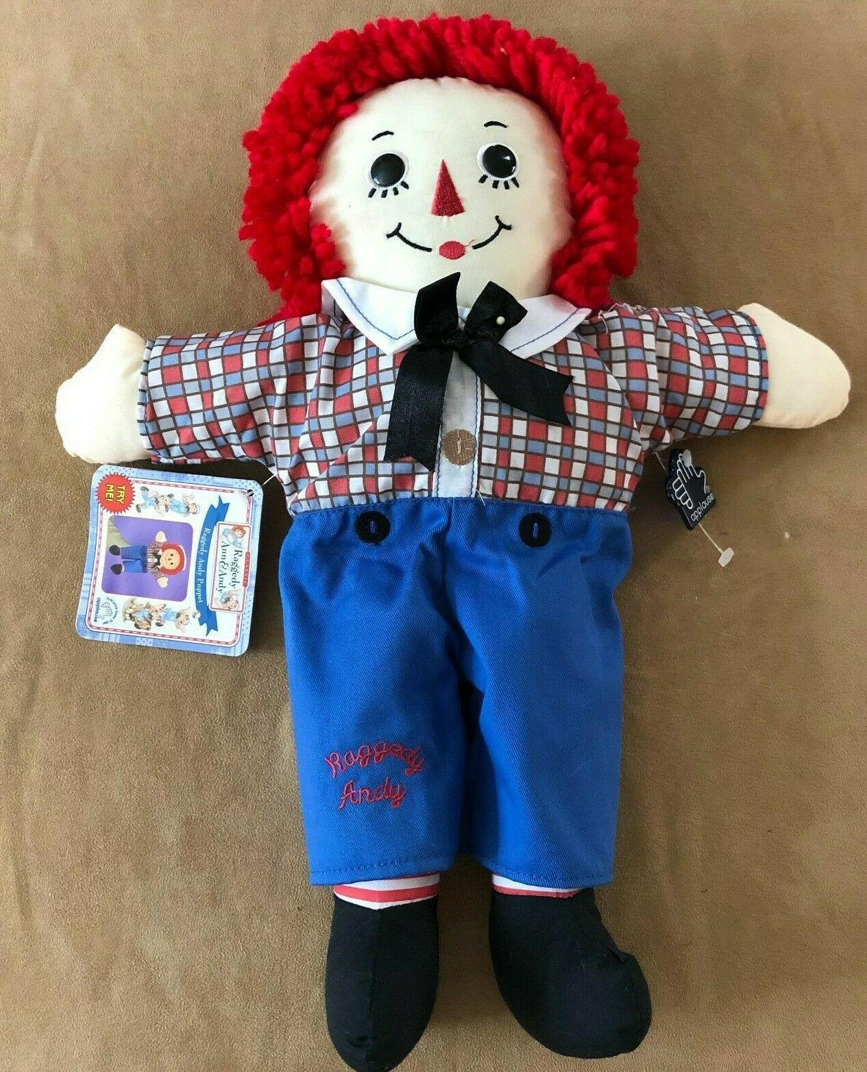 """Raggedy Andy 16"""" Hand Puppet Plush Doll Toy Applause Hasbro"""