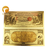 24k Gold Plated Banknote 1870 years 5 Dollars Decoration Banknotes 10pcs... - £3.98 GBP